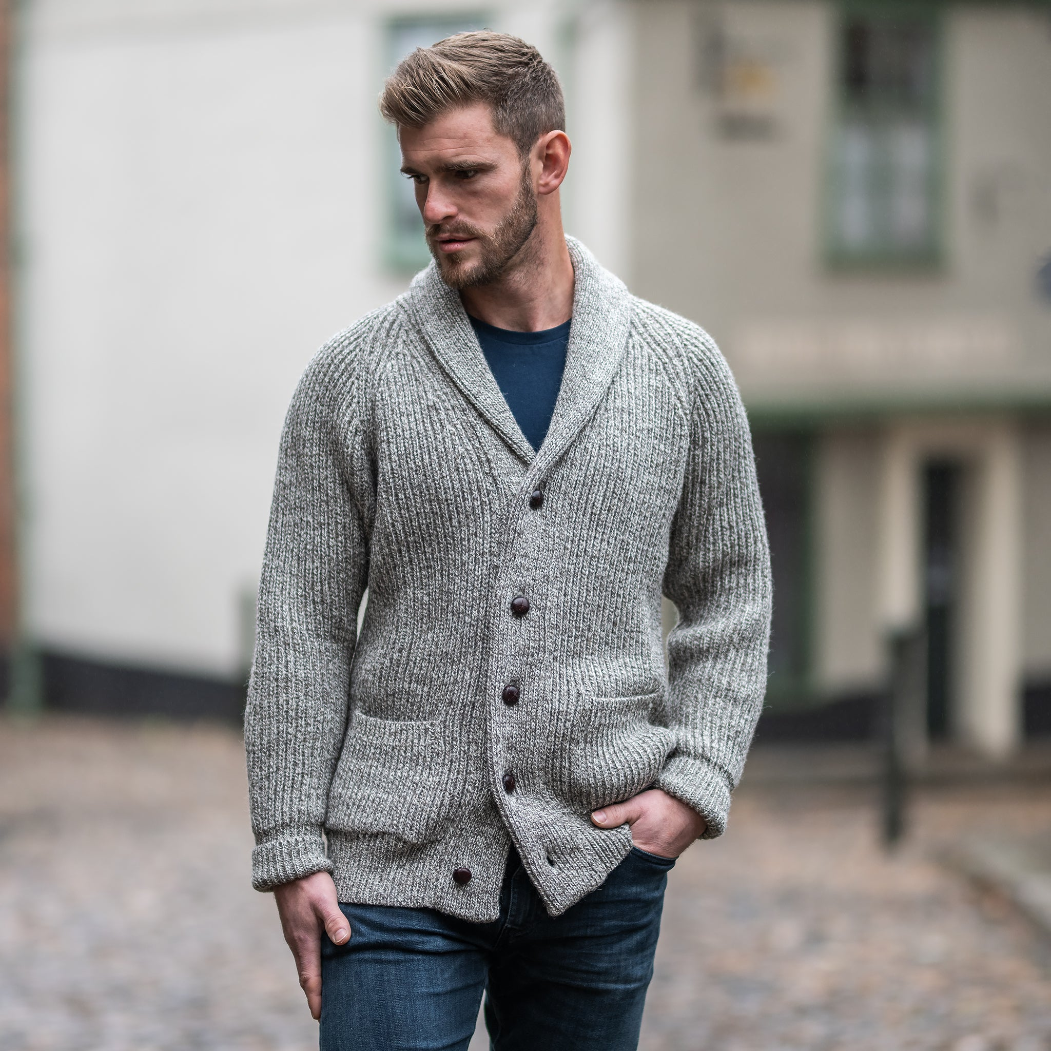Natural Twist pure wool shawl collar cardigan