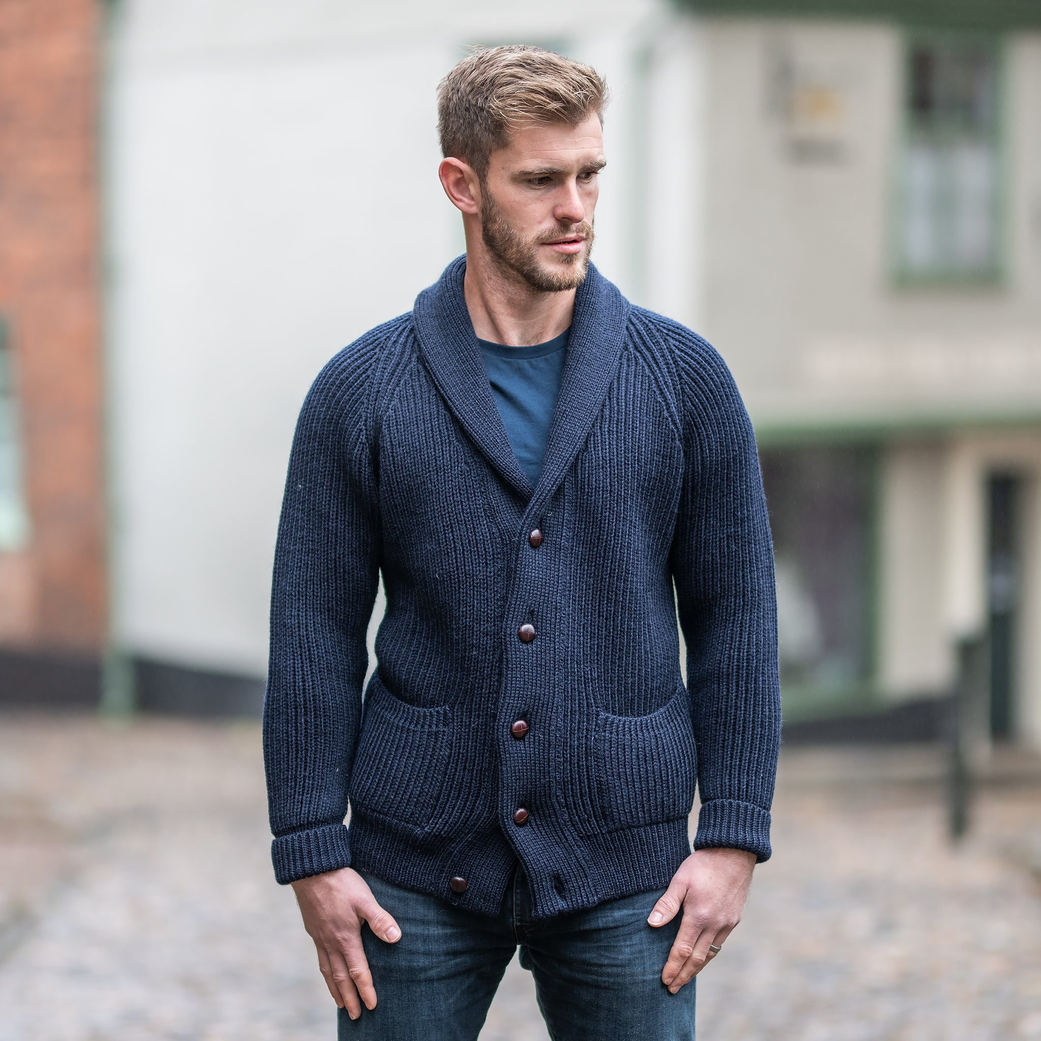 Navy pure wool shawl collar cardigan