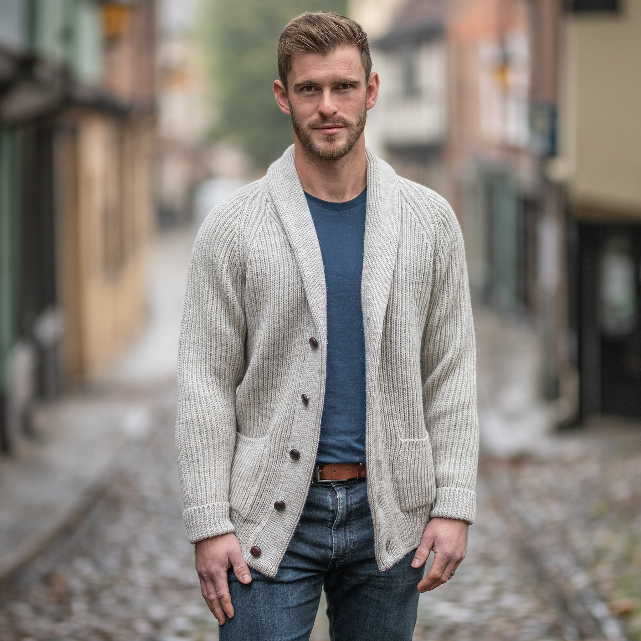 Light Grey pure wool shawl collar cardigan
