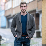 Dark Grey pure wool shawl collar cardigan