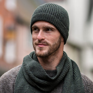 Moss Green Ribbed Hat