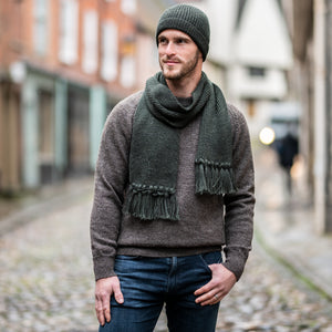 moss Green Ribbed Scarf