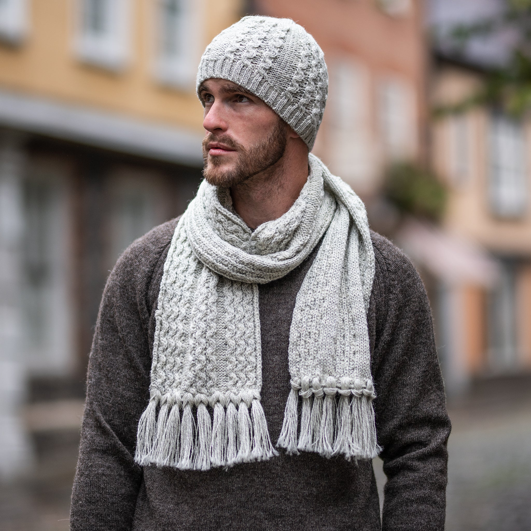 Light Grey pure wool cable scarf