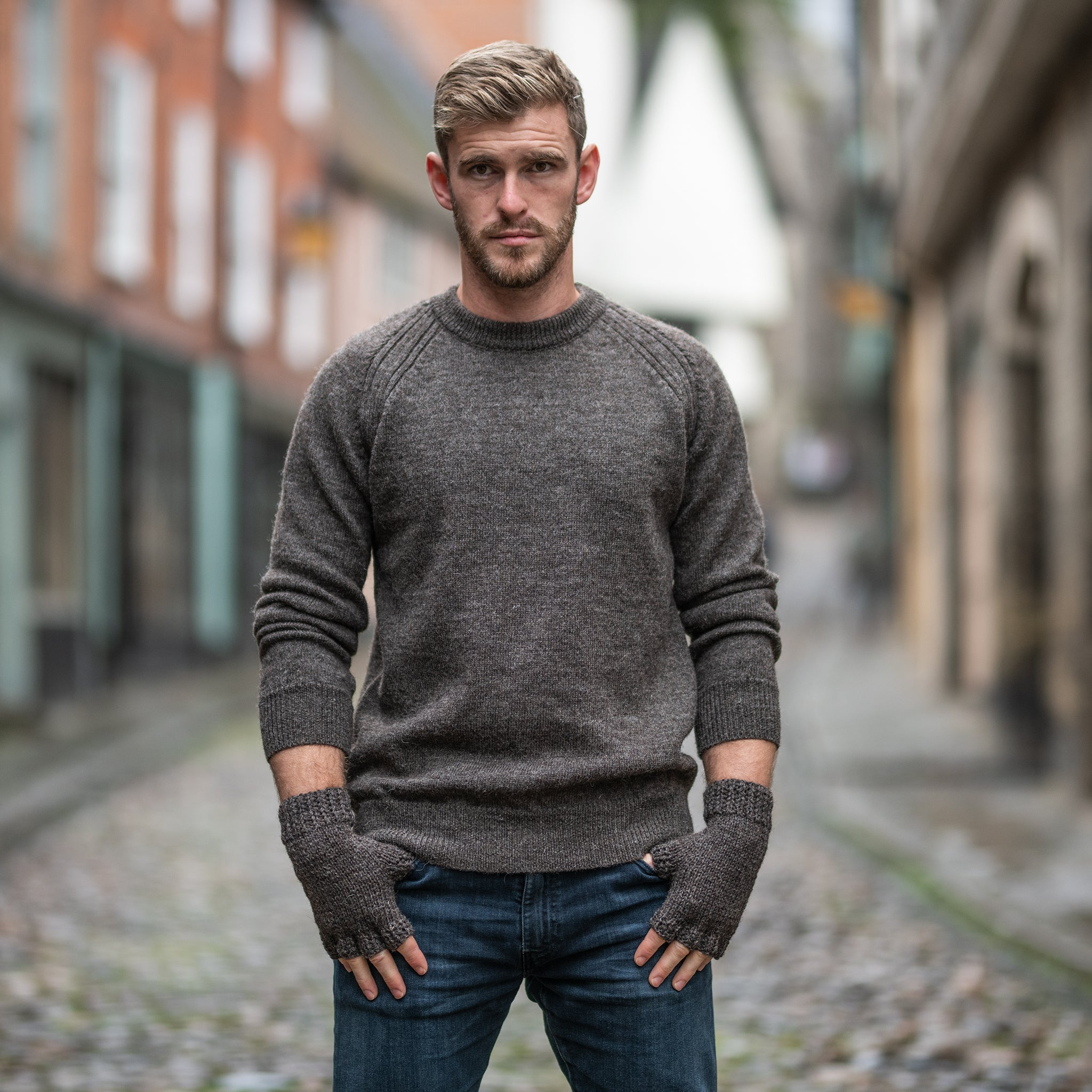 Dark grey pure wool  crew neck sweater