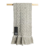 Light Grey - 100% British wool  cable scarf with tassels
