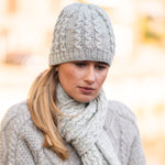 Light Grey pure wool cable hat