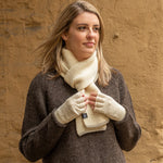 Ribbed scarf and fingerless gloves