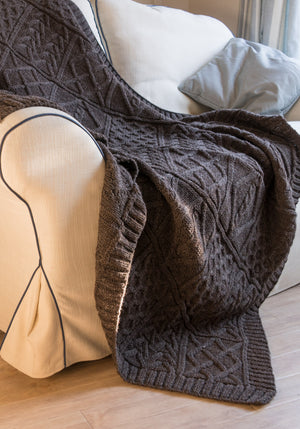 100% British wool patterned throw