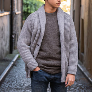 Smoke pure wool shawl collar cardigan