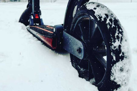 E-scooter snow. winter weather