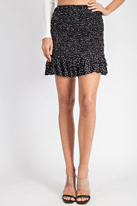 Smocked Polka Dot Mini Skirt