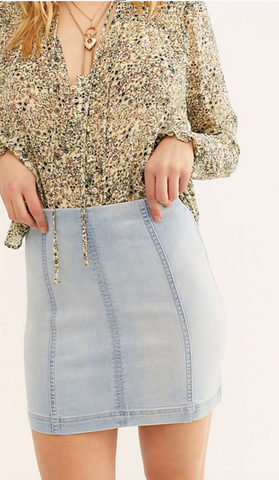 Free People 'Modern Femme Denim Mini Skirt' in Faded Blue Wash