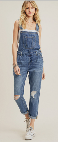 Risen Jeans Medium-Wash Slouchy Denim Overalls