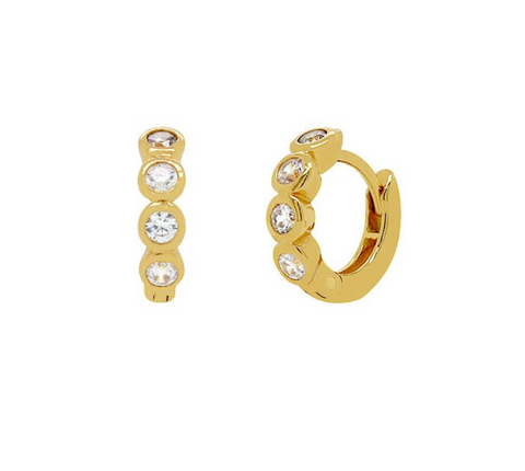 CZ Bezel Huggie Hoop Earrings