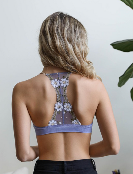 Periwinkle Floral Lattice Bralette