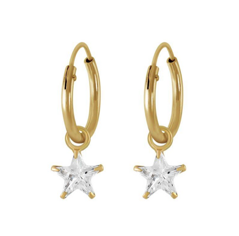 Sparkly Star Endless Hoop Earrinngs