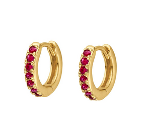 Ruby Pave Huggie Hoops