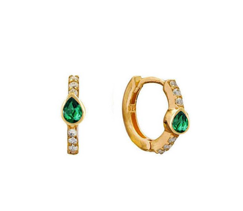 Emerald Teardrop Huggie Hoops