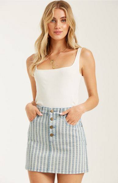 Billabong 'Cute as Indigo' Striped Denim Skirt