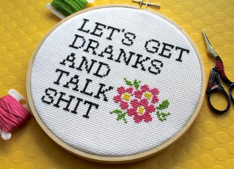 """Let's Get Drinks..."" Counted Cross-Stitch Kit"