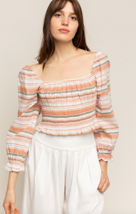 Smocked Striped Blouse