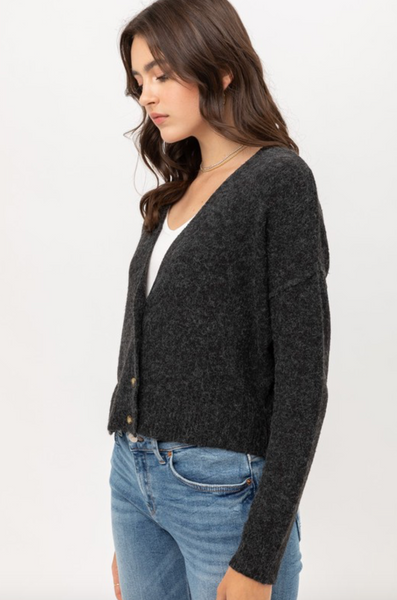 Cropped Button-Down Cardigan