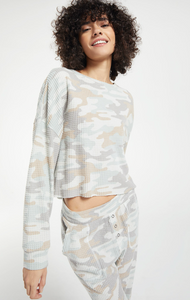 Z Supply 'Celine' Camo Waffle Long-Sleeve Top