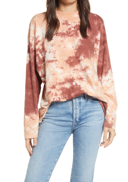 Free People 'Be Free' Tie Dye L/S Tee