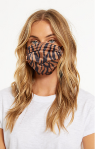 Z Supply Adult Reusable Satin Face Mask Black and Brown Zebra