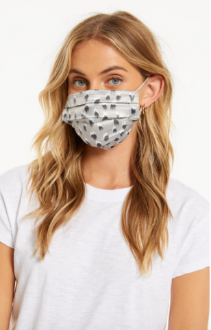 Z Supply Adult Reusable Satin Face Mask Light Grey with Pattern