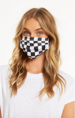 Z Supply Adult Reusable Satin Face Mask Black and White Checkered