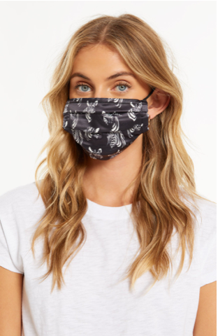 Z Supply Adult Reusable Satin Face Mask Black Zebra Pattern