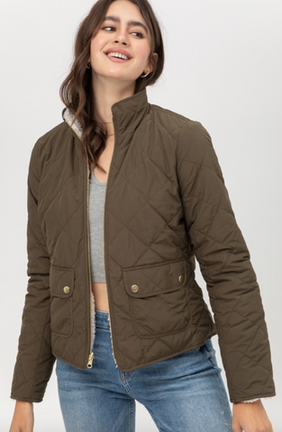 Sherpa Lined Reversible Quilted Jacket