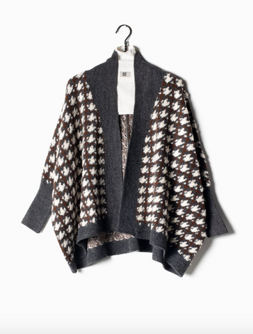 Look By M Boucle Houndstooth Cape Cardigan