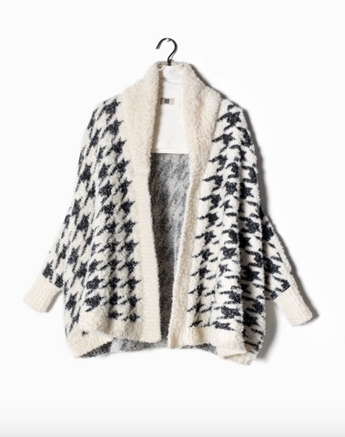 Look by M Houndstooth Shawl Collared Cape Cardigan