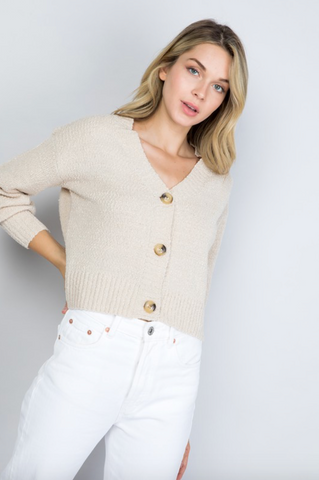 Textured Cropped Cardigan