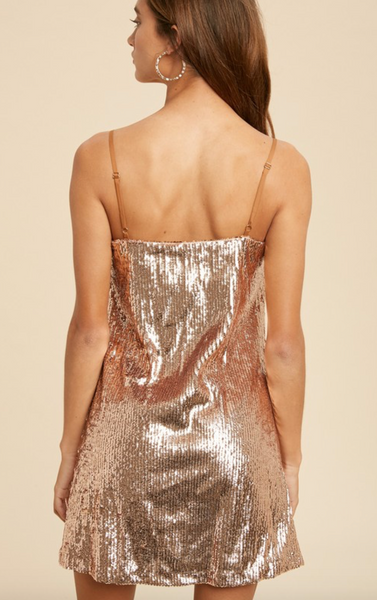 Square Neck Sequin Mini Dress