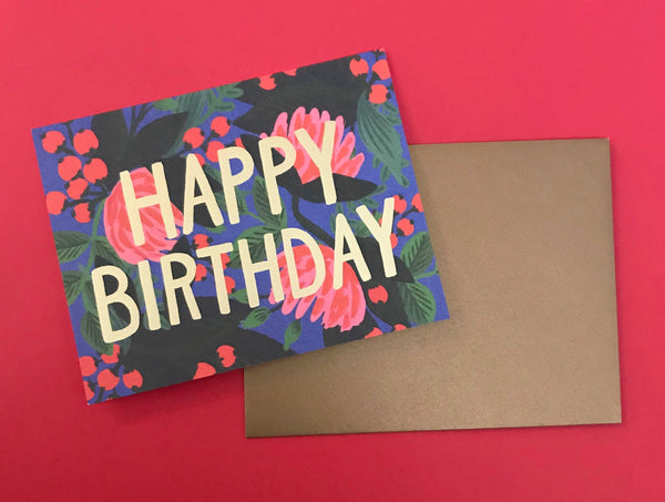 Floral & Gold Foil Birthday Card