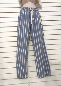 Striped Wide-Leg Pull-On Pants