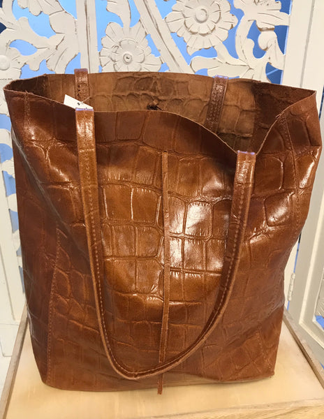 Embossed Crocodile Leather Tote