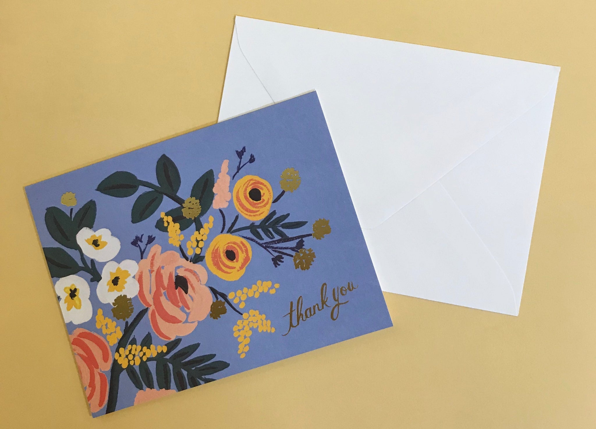 Periwinkle Blue Floral Thank You Card