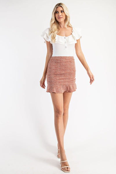 Leopard Ruched Mini Skirt