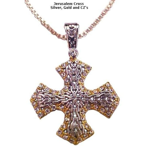 14 Stations Cross (14K) Gold & Silver with CZ's - Christian