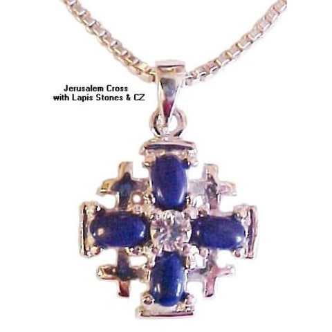 Jerusalem Cross with Lapis and CZ Necklace - Christian