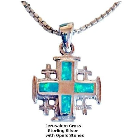 Jerusalem Cross with Opal Stones - Christian Jewelry