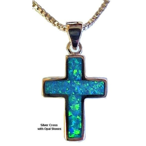 Silver Cross Necklace with Opal Stones - Christian Jewelry