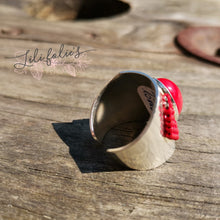 Laden Sie das Bild in den Galerie-Viewer, Bague réglable argent cabochon rouge