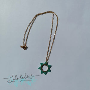 Collier court Etoile turquoise