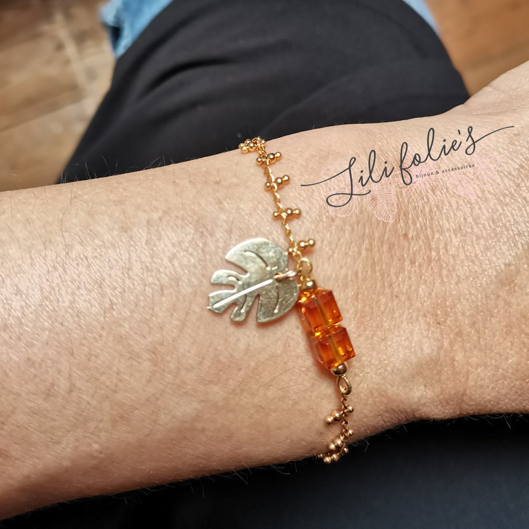 Bracelet Monstera double orange