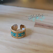 Load image into Gallery viewer, Bague fenêtre turquoise